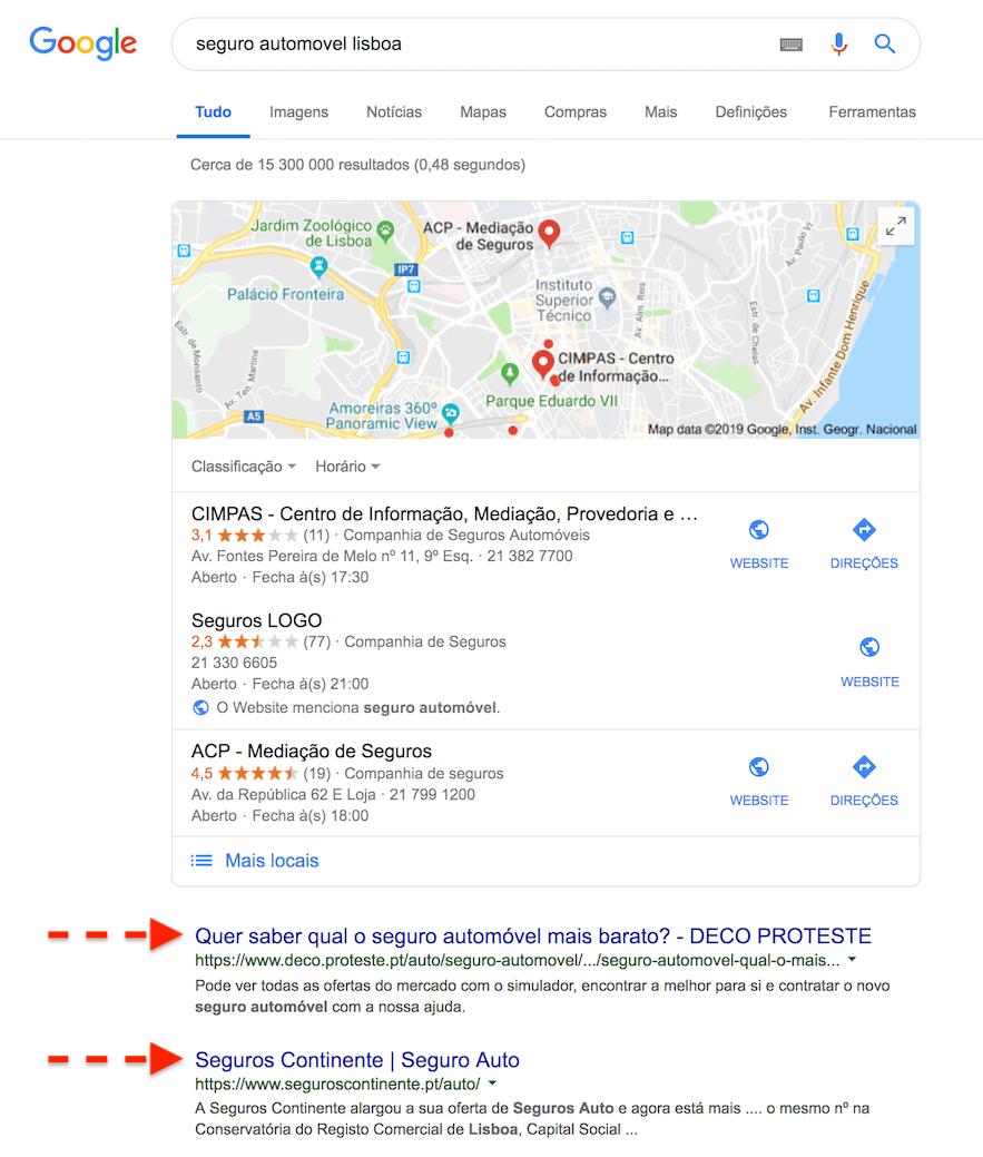 resultados organicos google, seo