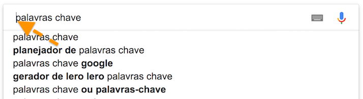 sugestoes palavras chave google